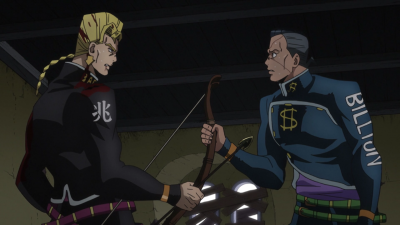 Okuyasu and Keicho fight over the arrow.png
