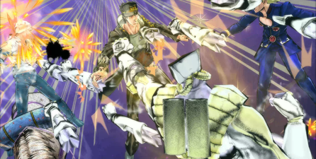 TWOH beats up Jotaro, Giorno and Johnny.png