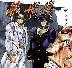 Jotaro and Josuke confront Anjuro.jpg
