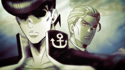 Josuke and Kira pass each other.png