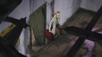 Kinoto inspects the door.png