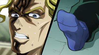 Kira notices Koichi's sock.png