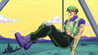 Toyohiro hanging from a cable.png
