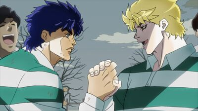 Dio and Jojo playing with one team.jpg