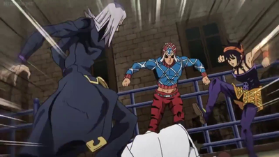 Abbacchio Mista and Narancia beating up a civilian.png