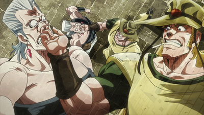 Hol Horse puts fingers in Polnareff's nose.png