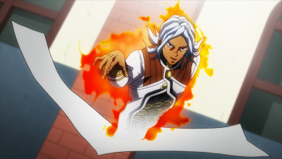 Terunosuke using his stand on himself.png